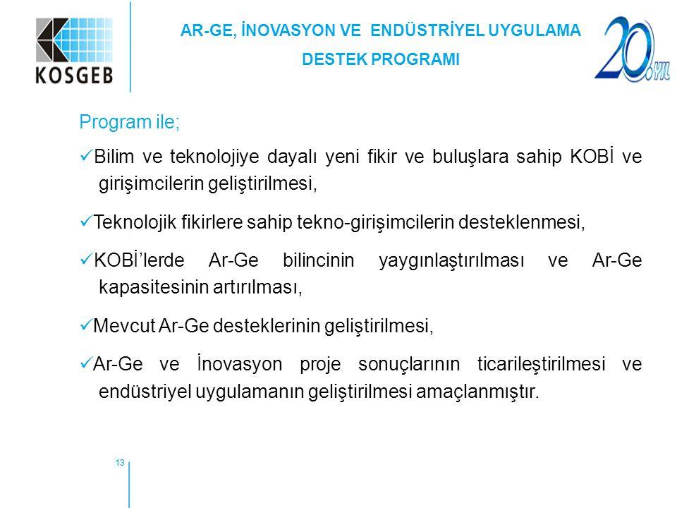 13 Program ile; Bilim ve teknolojiye dayalı yeni fikir ve buluşlara sahip KOBİ ve girişimcilerin geliştirilmesi, Teknolojik fikirlere sahip tekno-giri