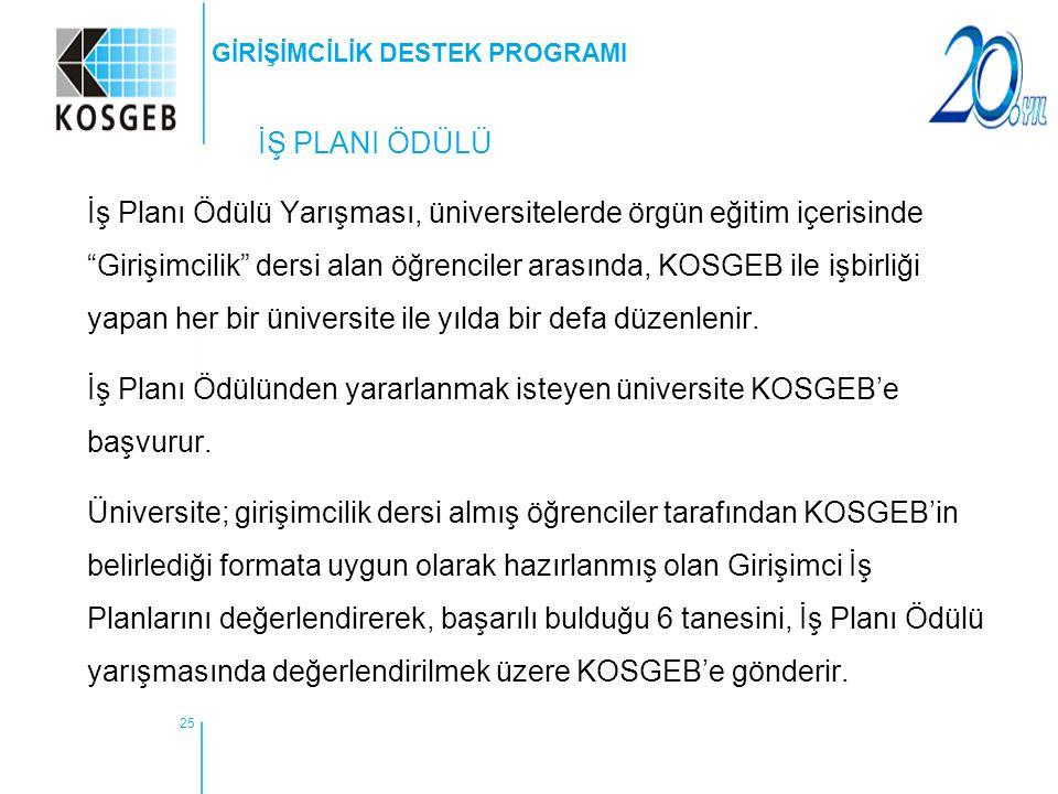 """25 İŞ PLANI ÖDÜLÜ İş Planı Ödülü Yarışması, üniversitelerde örgün eğitim içerisinde """"Girişimcilik"""" dersi alan öğrenciler arasında, KOSGEB ile işbirliğ"""