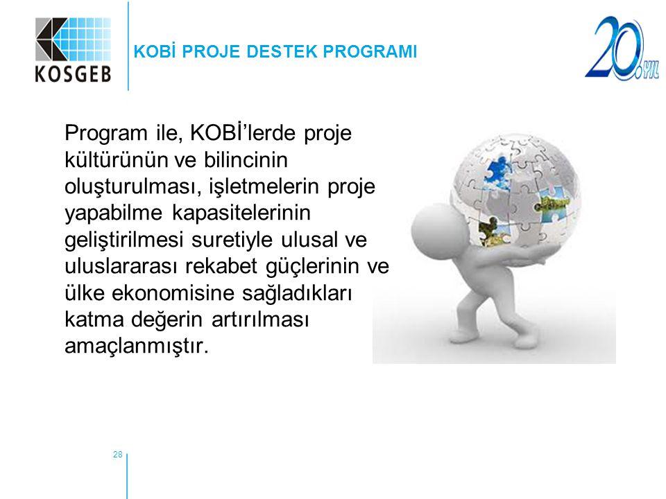 28 KOBİ PROJE DESTEK PROGRAMI Program ile, KOBİ'lerde proje kültürünün ve bilincinin oluşturulması, işletmelerin proje yapabilme kapasitelerinin geliş