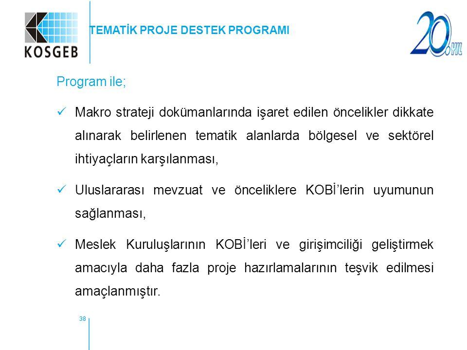 38 Program ile; Makro strateji dokümanlarında işaret edilen öncelikler dikkate alınarak belirlenen tematik alanlarda bölgesel ve sektörel ihtiyaçların