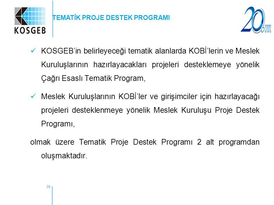 39 KOSGEB'in belirleyeceği tematik alanlarda KOBİ'lerin ve Meslek Kuruluşlarının hazırlayacakları projeleri desteklemeye yönelik Çağrı Esaslı Tematik