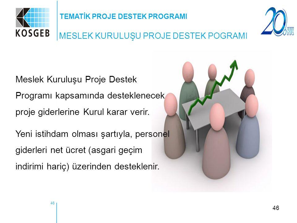46 Meslek Kuruluşu Proje Destek Programı kapsamında desteklenecek proje giderlerine Kurul karar verir. Yeni istihdam olması şartıyla, personel giderle