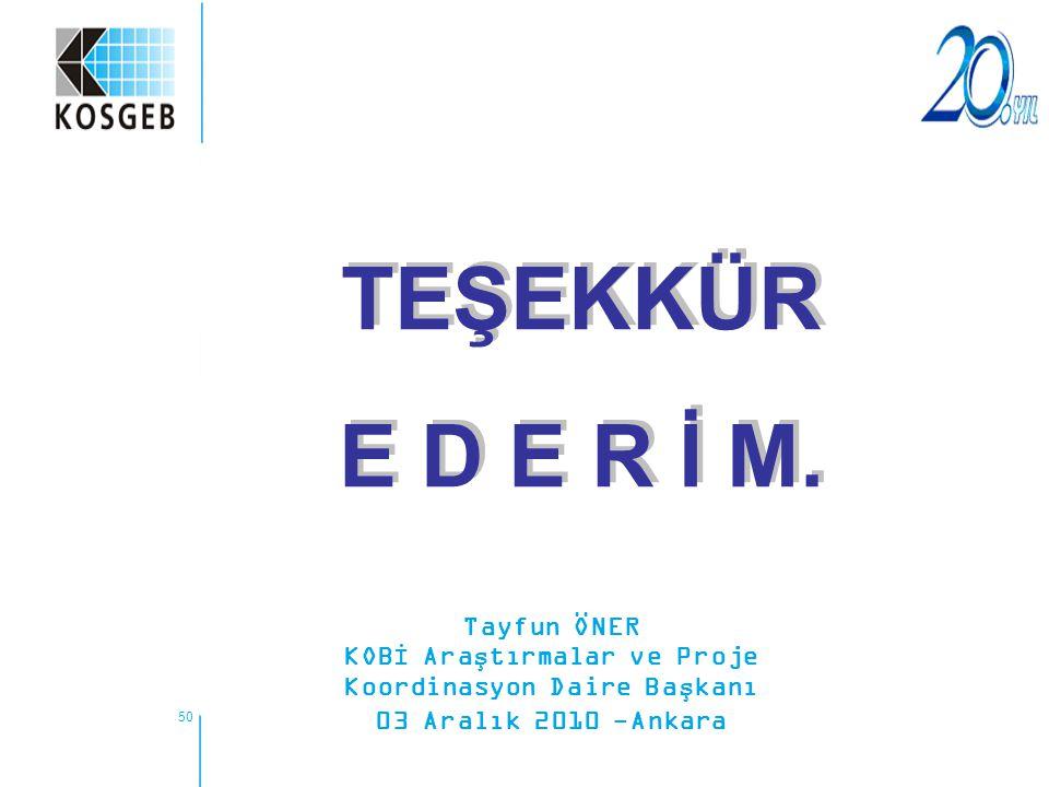 50 TEŞEKKÜR E D E R İ M. TEŞEKKÜR E D E R İ M. Tayfun ÖNER KOBİ Araştırmalar ve Proje Koordinasyon Daire Başkanı 03 Aralık 2010 -Ankara