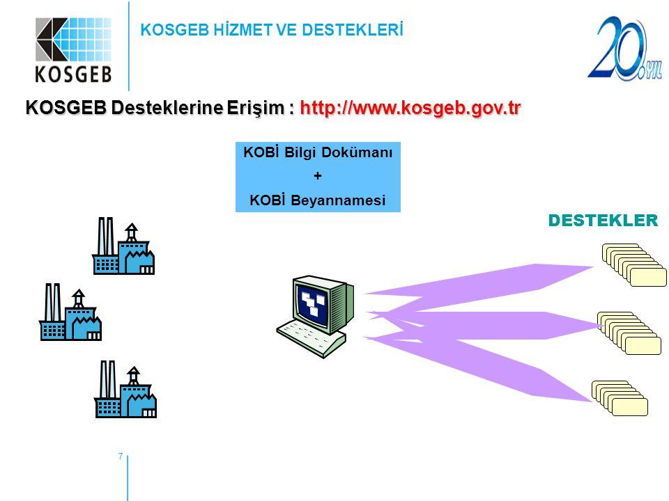 7 KOSGEB HİZMET VE DESTEKLERİ KOSGEB Desteklerine Erişim : http://www.kosgeb.gov.tr DESTEKLER KOBİ Bilgi Dokümanı + KOBİ Beyannamesi
