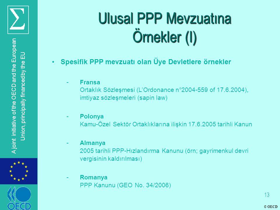 © OECD A joint initiative of the OECD and the European Union, principally financed by the EU Ulusal PPP Mevzuatına Örnekler (I) Spesifik PPP mevzuatı olan Üye Devletlere örnekler -Fransa Ortaklık Sözleşmesi (L'Ordonance n°2004-559 of 17.6.2004), imtiyaz sözleşmeleri (sapin law) -Polonya Kamu-Özel Sektör Ortaklıklarına ilişkin 17.6.2005 tarihli Kanun -Almanya 2005 tarihli PPP-Hızlandırma Kanunu (örn; gayrimenkul devri vergisinin kaldırılması) -Romanya PPP Kanunu (GEO No.