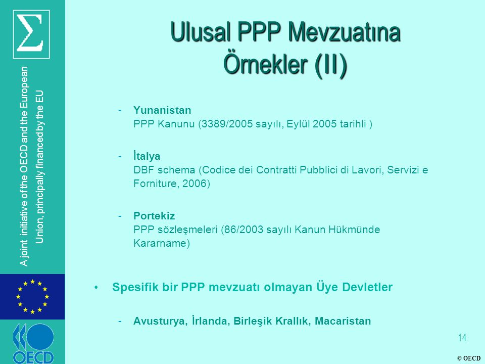 © OECD A joint initiative of the OECD and the European Union, principally financed by the EU Ulusal PPP Mevzuatına Örnekler (II) -Yunanistan PPP Kanun