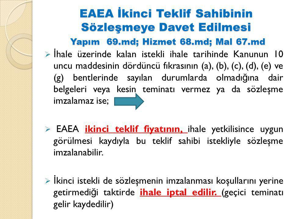 EAEA İkinci Teklif Sahibinin Sözleşmeye Davet Edilmesi Yapım 69.md; Hizmet 68.md; Mal 67.md  İ hale üzerinde kalan istekli ihale tarihinde Kanunun 10