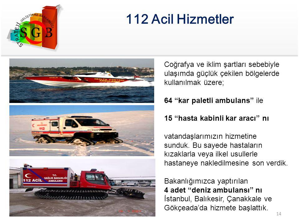 """112 Acil Hizmetler Coğrafya ve iklim şartları sebebiyle ulaşımda güçlük çekilen bölgelerde kullanılmak üzere; 64 """"kar paletli ambulans"""" ile 15 """"hasta"""