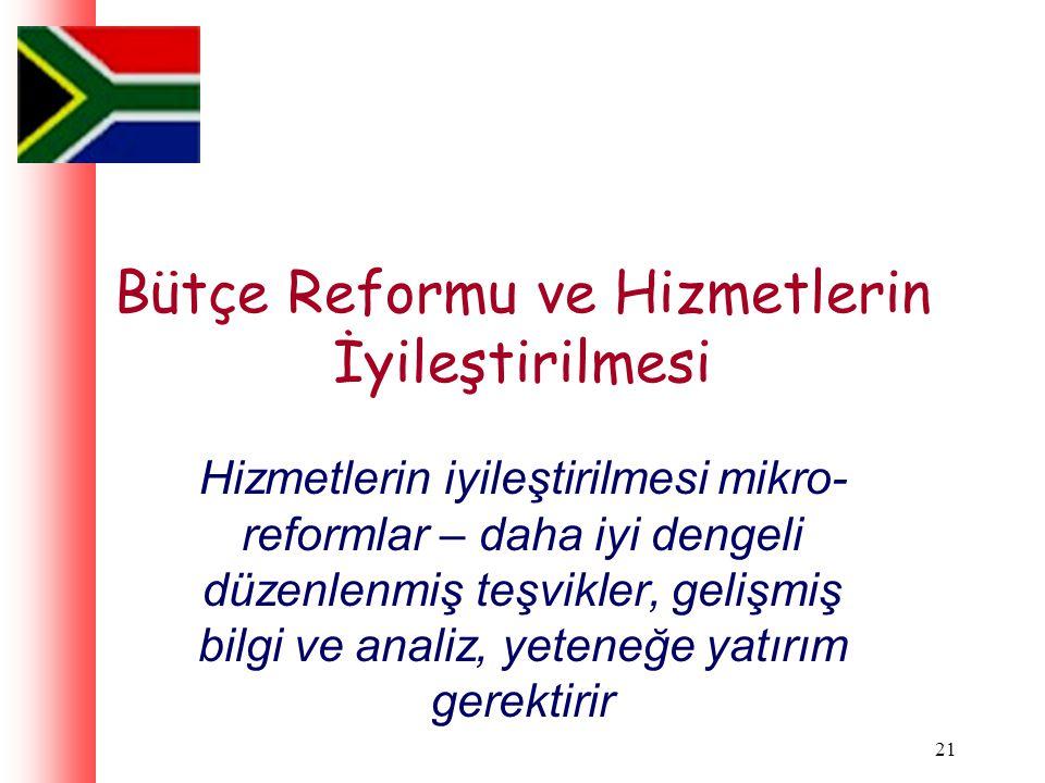 21 Bütçe Reformu ve Hizmetlerin İyileştirilmesi Hizmetlerin iyileştirilmesi mikro- reformlar – daha iyi dengeli düzenlenmiş teşvikler, gelişmiş bilgi ve analiz, yeteneğe yatırım gerektirir