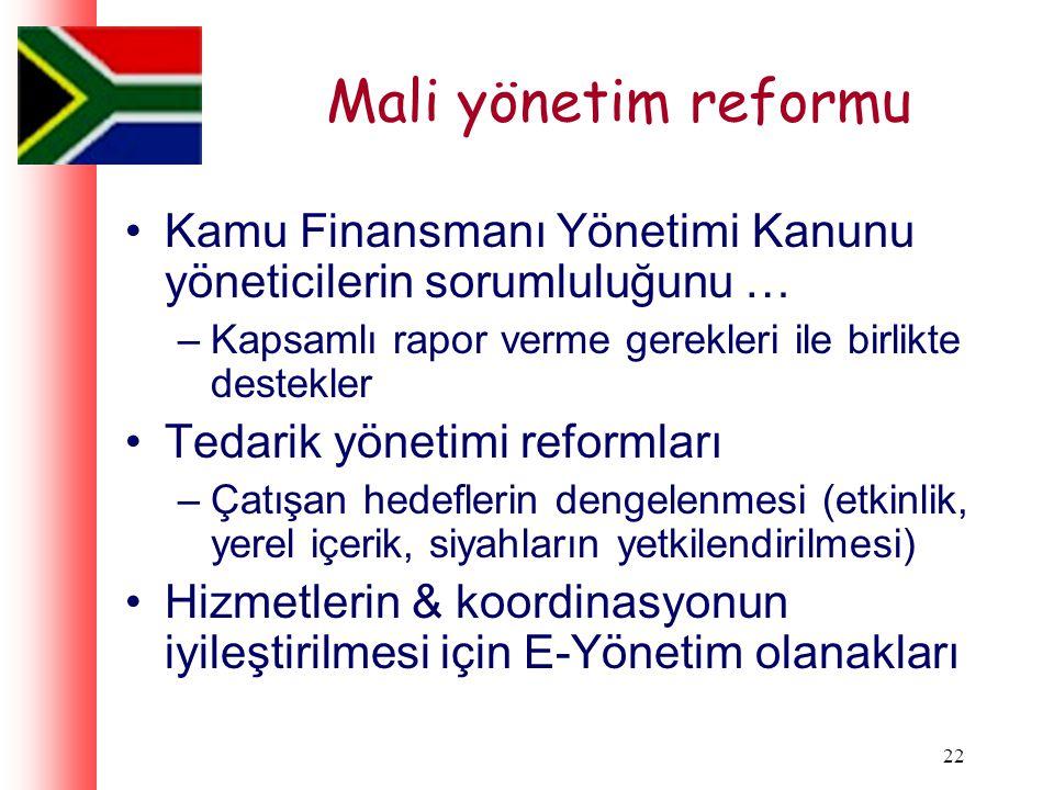 22 Mali yönetim reformu Kamu Finansmanı Yönetimi Kanunu yöneticilerin sorumluluğunu … –Kapsamlı rapor verme gerekleri ile birlikte destekler Tedarik yönetimi reformları –Çatışan hedeflerin dengelenmesi (etkinlik, yerel içerik, siyahların yetkilendirilmesi) Hizmetlerin & koordinasyonun iyileştirilmesi için E-Yönetim olanakları
