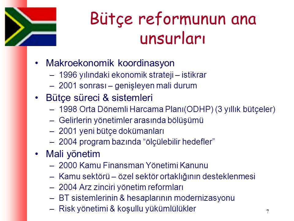 7 Bütçe reformunun ana unsurları Makroekonomik koordinasyon –1996 yılındaki ekonomik strateji – istikrar –2001 sonrası – genişleyen mali durum Bütçe süreci & sistemleri –1998 Orta Dönemli Harcama Planı(ODHP) (3 yıllık bütçeler) –Gelirlerin yönetimler arasında bölüşümü –2001 yeni bütçe dokümanları –2004 program bazında ölçülebilir hedefler Mali yönetim –2000 Kamu Finansman Yönetimi Kanunu –Kamu sektörü – özel sektör ortaklığının desteklenmesi –2004 Arz zinciri yönetim reformları –BT sistemlerinin & hesaplarının modernizasyonu –Risk yönetimi & koşullu yükümlülükler
