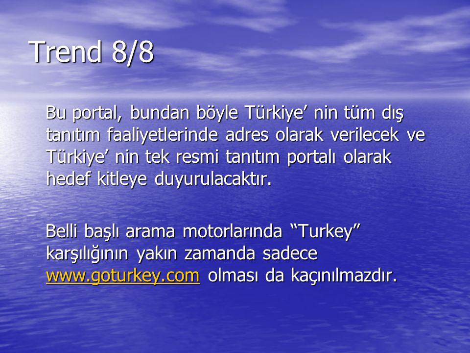 Bu portal, bundan böyle Türkiye' nin tüm dış tanıtım faaliyetlerinde adres olarak verilecek ve Türkiye' nin tek resmi tanıtım portalı olarak hedef kit