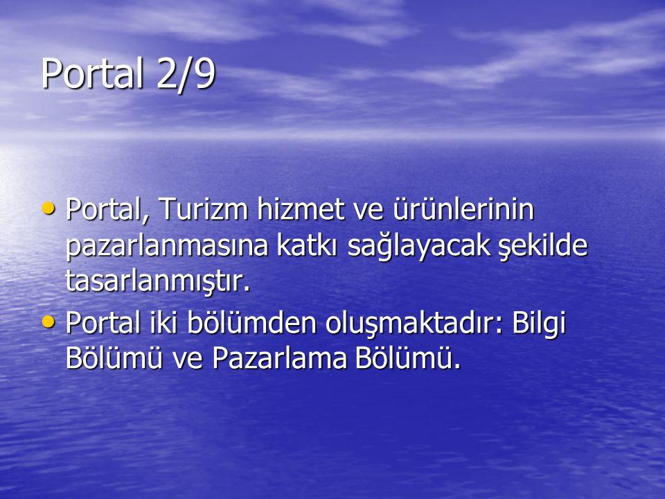 Portal, Turizm hizmet ve ürünlerinin pazarlanmasına katkı sağlayacak şekilde tasarlanmıştır. Portal, Turizm hizmet ve ürünlerinin pazarlanmasına katkı