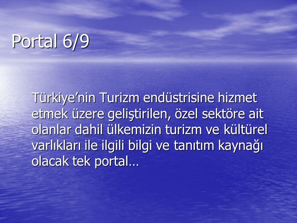 Türkiye'nin Turizm endüstrisine hizmet etmek üzere geliştirilen, özel sektöre ait olanlar dahil ülkemizin turizm ve kültürel varlıkları ile ilgili bilgi ve tanıtım kaynağı olacak tek portal… Portal 6/9