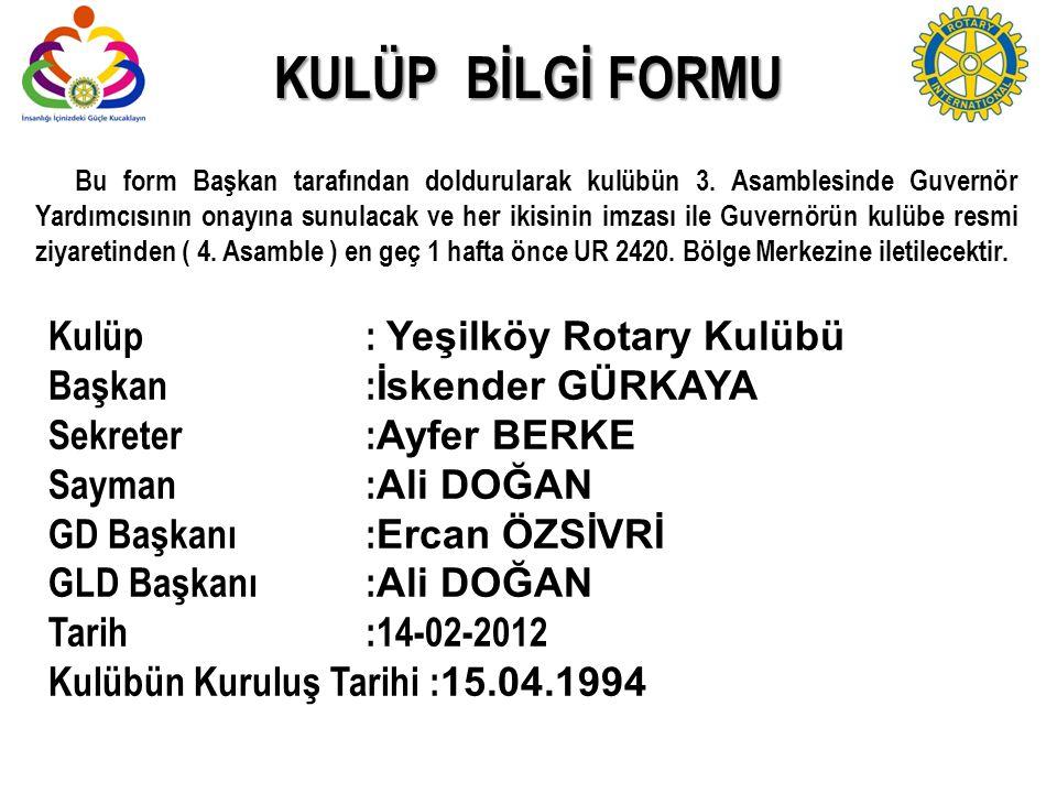 Bu form Başkan tarafından doldurularak kulübün 3. Asamblesinde Guvernör Yardımcısının onayına sunulacak ve her ikisinin imzası ile Guvernörün kulübe r