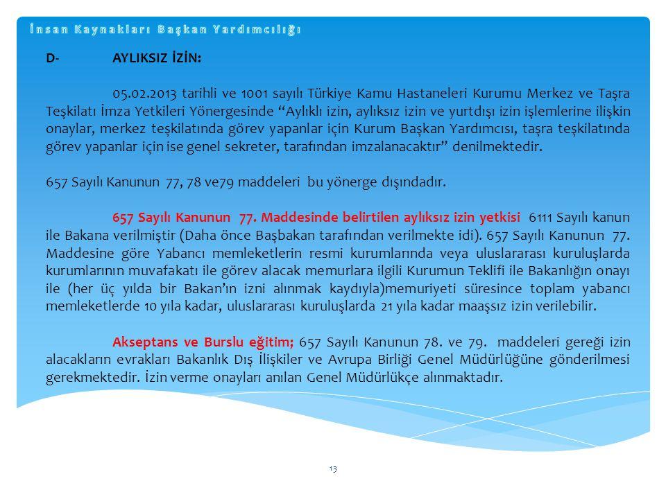 """13 D-AYLIKSIZ İZİN: 05.02.2013 tarihli ve 1001 sayılı Türkiye Kamu Hastaneleri Kurumu Merkez ve Taşra Teşkilatı İmza Yetkileri Yönergesinde """"Aylıklı i"""