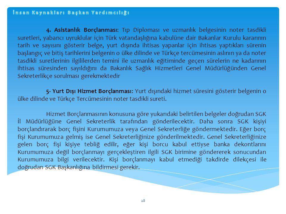 28 4. Asistanlık Borçlanması: Tıp Diploması ve uzmanlık belgesinin noter tasdikli suretleri, yabancı uyruklular için Türk vatandaşlığına kabulüne dair