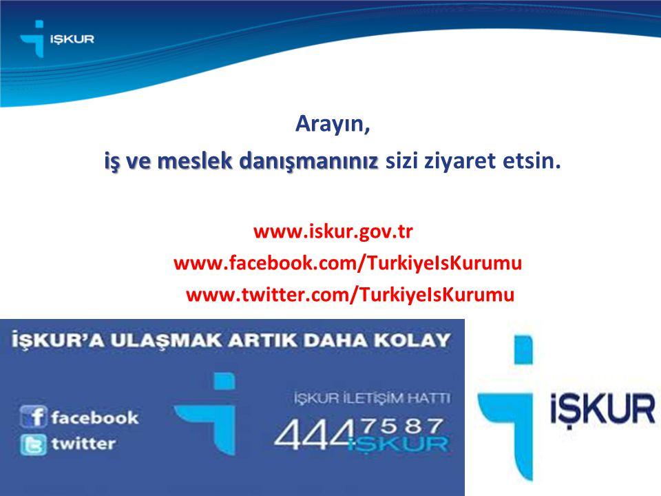 Arayın, iş ve meslek danışmanınız iş ve meslek danışmanınız sizi ziyaret etsin. www.iskur.gov.tr www.facebook.com/TurkiyeIsKurumu www.twitter.com/Turk