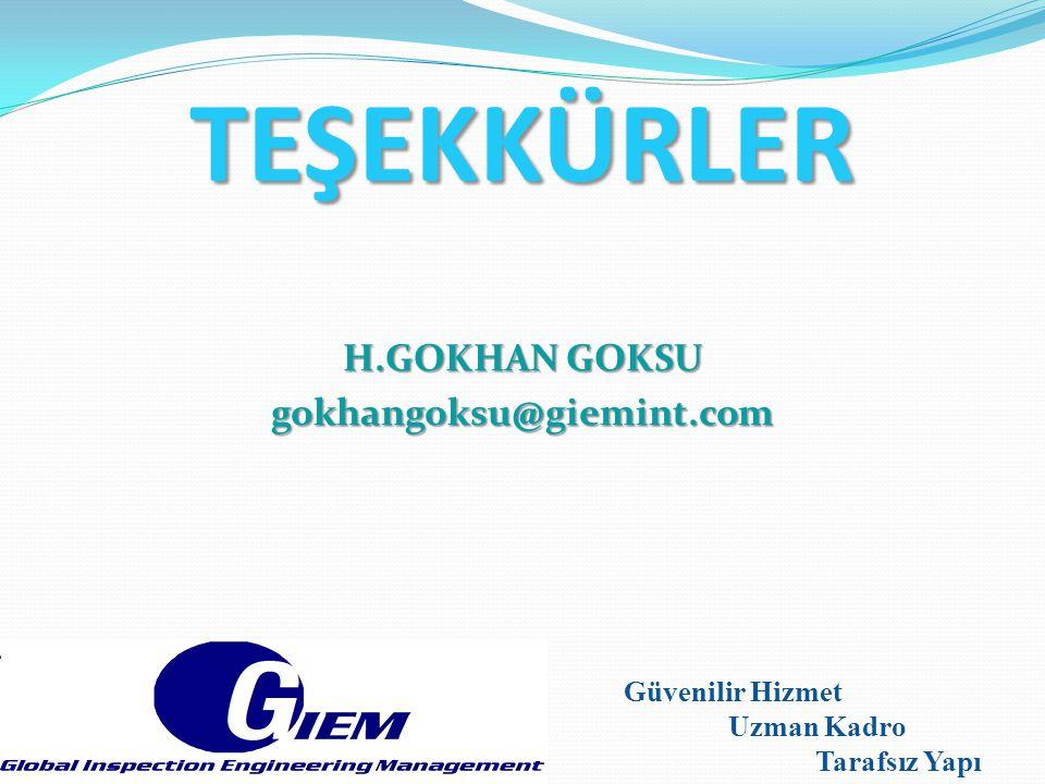 TEŞEKKÜRLER H.GOKHAN GOKSU gokhangoksu@giemint.com Güvenilir Hizmet Uzman Kadro Tarafsız Yapı