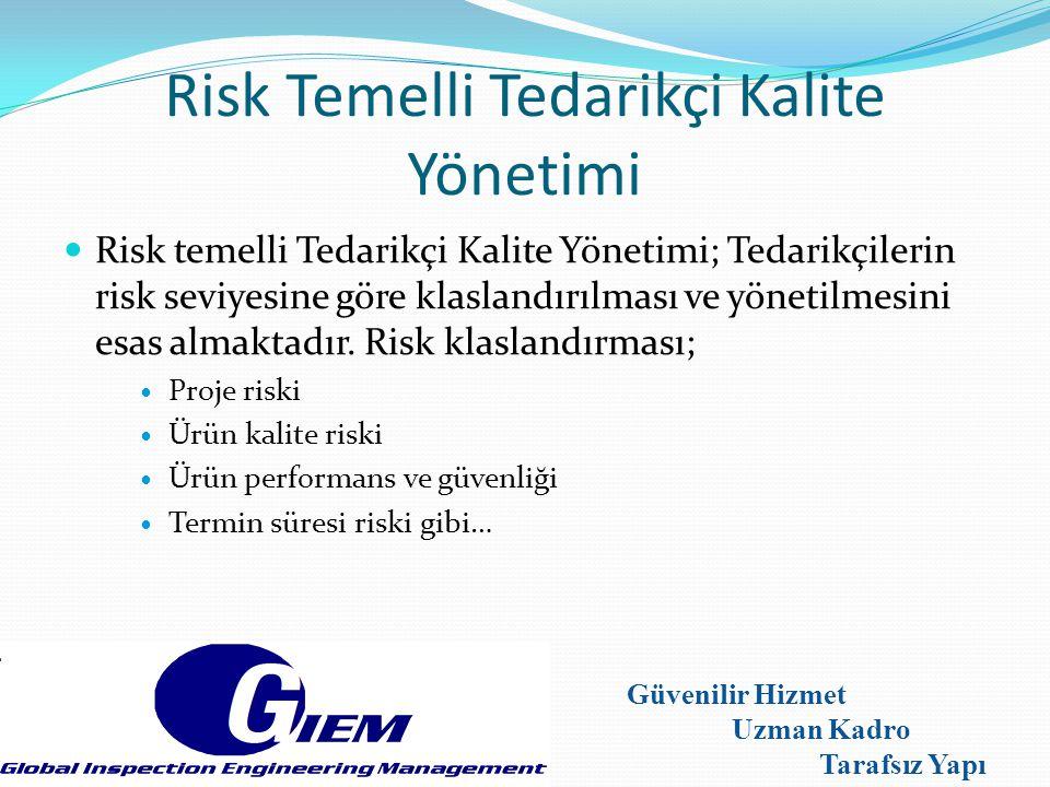 Risk Temelli Tedarikçi Kalite Yönetimi Risk temelli Tedarikçi Kalite Yönetimi; Tedarikçilerin risk seviyesine göre klaslandırılması ve yönetilmesini e