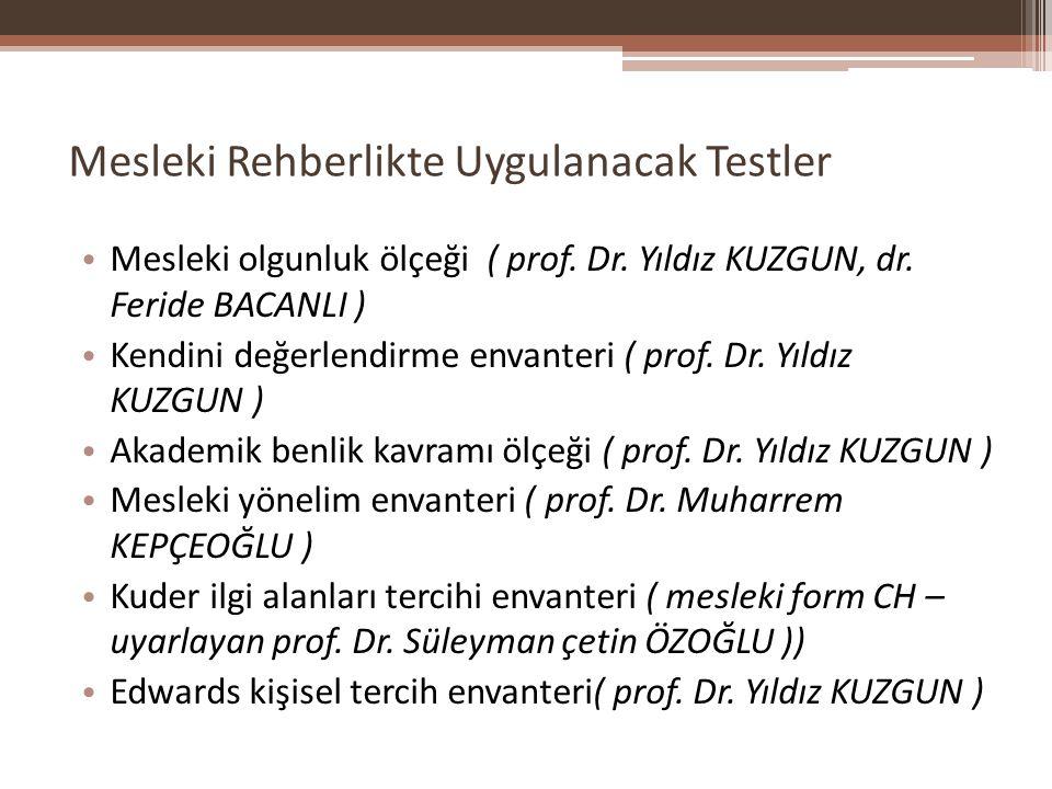 Mesleki Rehberlikte Uygulanacak Testler Mesleki olgunluk ölçeği ( prof. Dr. Yıldız KUZGUN, dr. Feride BACANLI ) Kendini değerlendirme envanteri ( prof