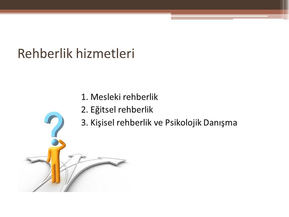 Rehberlik hizmetleri 1. Mesleki rehberlik 2. Eğitsel rehberlik 3. Kişisel rehberlik ve Psikolojik Danışma