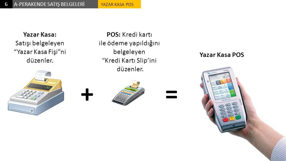 """A-PERAKENDE SATIŞ BELGELERİ6 POS: Kredi kartı ile ödeme yapıldığını belgeleyen """"Kredi Kartı Slip'ini düzenler. Yazar Kasa: Satışı belgeleyen """"Yazar Ka"""