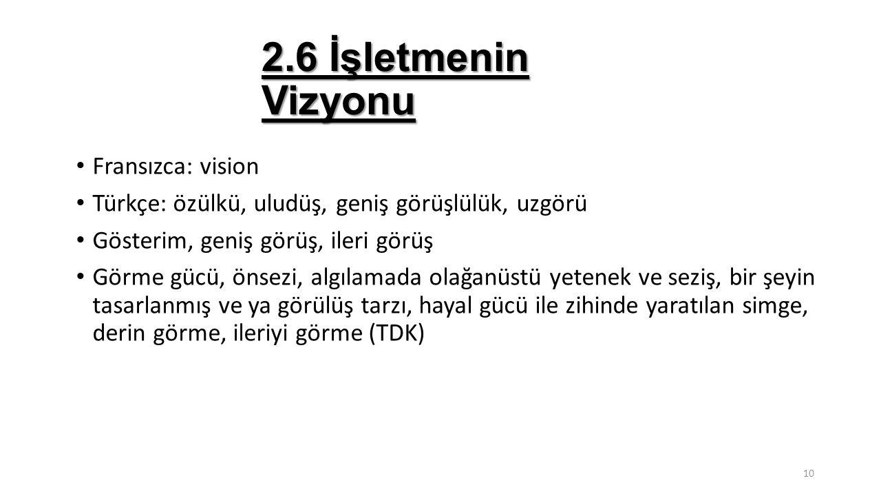2.6 İşletmenin Vizyonu Fransızca: vision Türkçe: özülkü, uludüş, geniş görüşlülük, uzgörü Gösterim, geniş görüş, ileri görüş Görme gücü, önsezi, algıl
