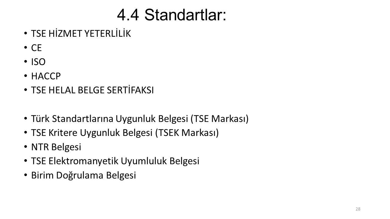 4.4 Standartlar: TSE HİZMET YETERLİLİK CE ISO HACCP TSE HELAL BELGE SERTİFAKSI Türk Standartlarına Uygunluk Belgesi (TSE Markası) TSE Kritere Uygunluk