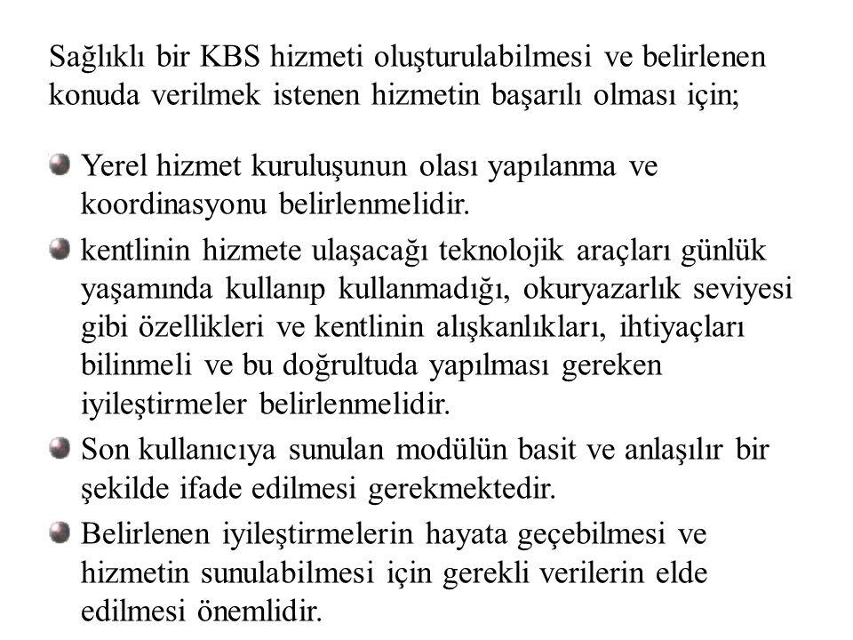 Sağlıklı bir KBS hizmeti oluşturulabilmesi ve belirlenen konuda verilmek istenen hizmetin başarılı olması için; Yerel hizmet kuruluşunun olası yapılan