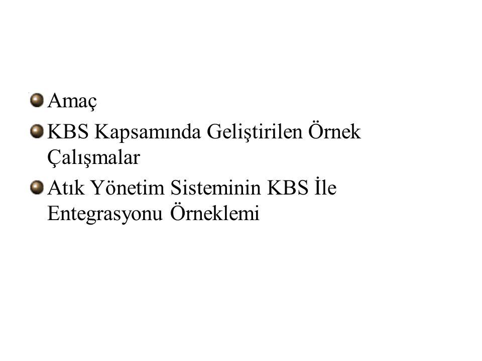 Amaç KBS Kapsamında Geliştirilen Örnek Çalışmalar Atık Yönetim Sisteminin KBS İle Entegrasyonu Örneklemi