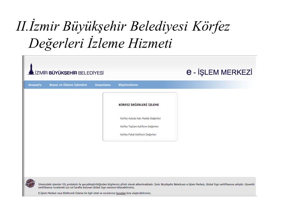 II.İzmir Büyükşehir Belediyesi Körfez Değerleri İzleme Hizmeti
