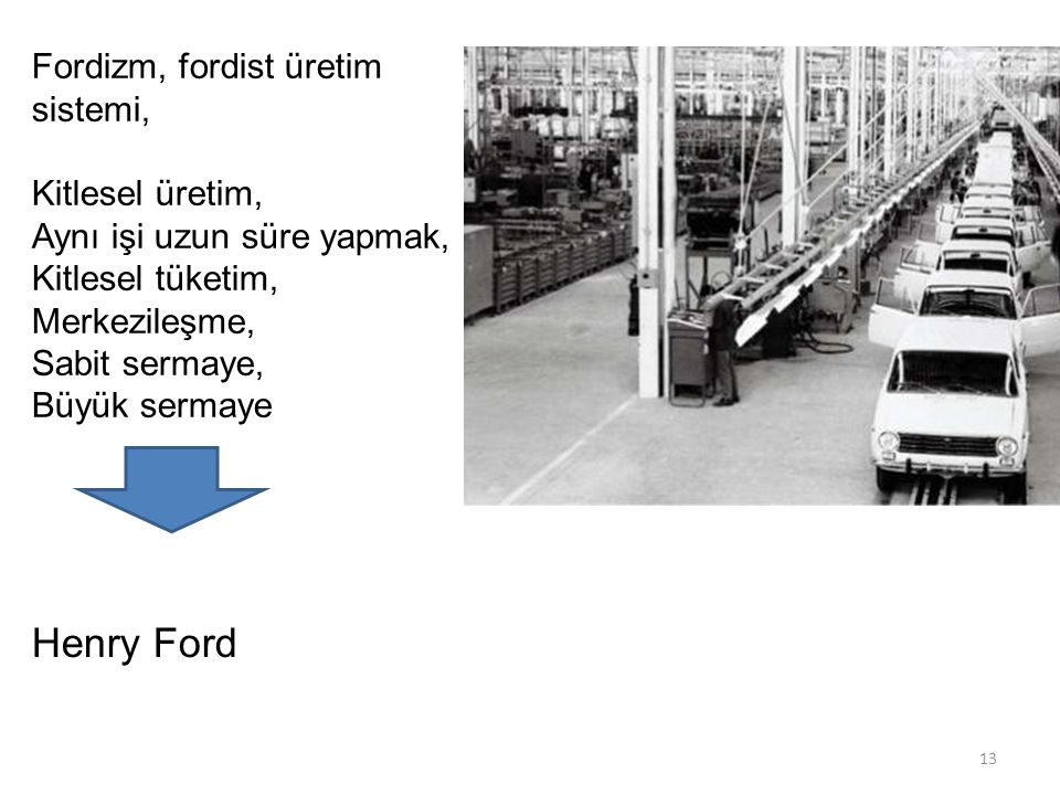 Fordizm, fordist üretim sistemi, Kitlesel üretim, Aynı işi uzun süre yapmak, Kitlesel tüketim, Merkezileşme, Sabit sermaye, Büyük sermaye Henry Ford 13