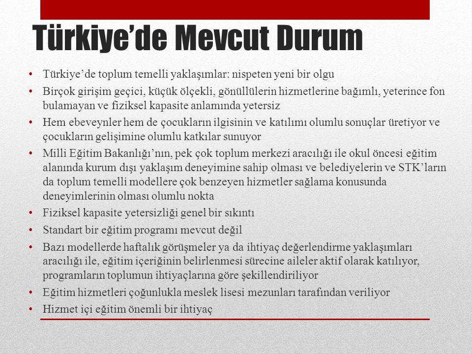 Türkiye'de Mevcut Durum Türkiye'de toplum temelli yaklaşımlar: nispeten yeni bir olgu Birçok girişim geçici, küçük ölçekli, gönüllülerin hizmetlerine