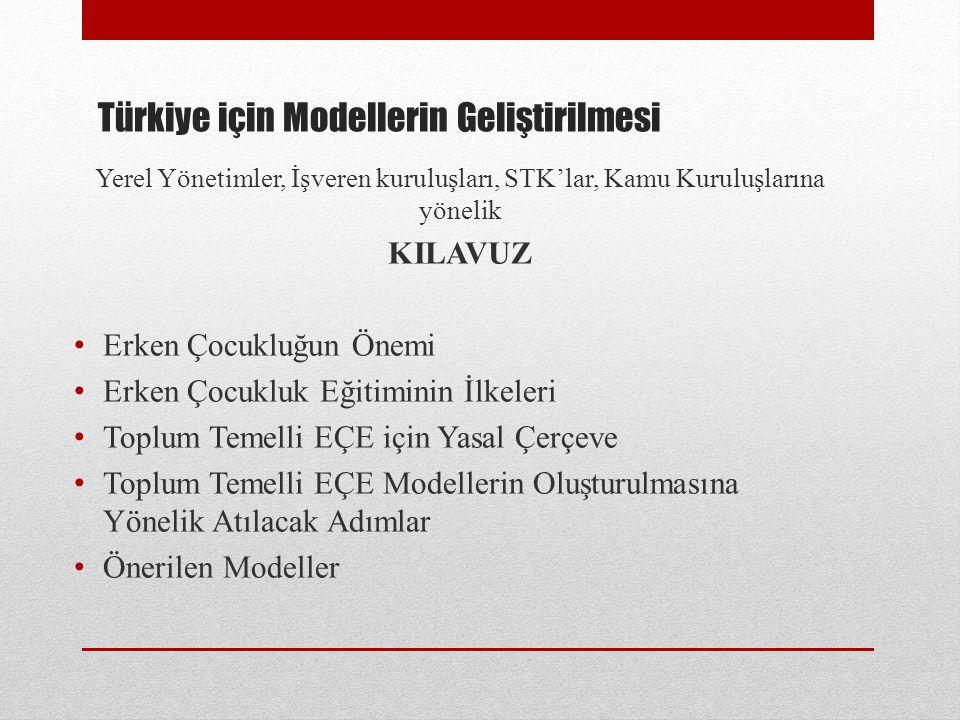 Türkiye için Modellerin Geliştirilmesi Yerel Yönetimler, İşveren kuruluşları, STK'lar, Kamu Kuruluşlarına yönelik KILAVUZ Erken Çocukluğun Önemi Erken