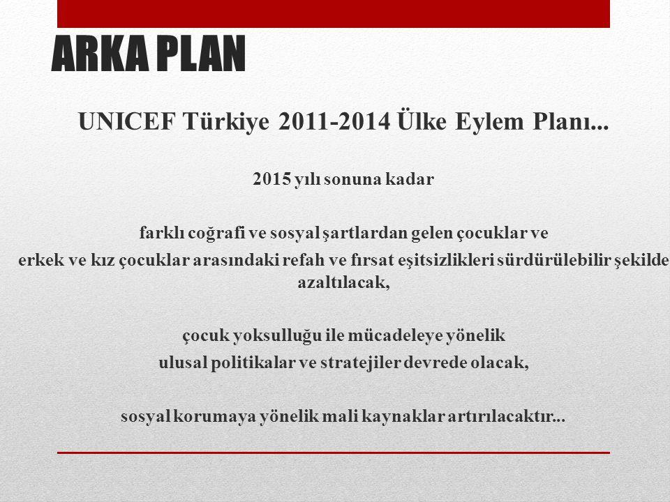 ARKA PLAN UNICEF Türkiye 2011-2014 Ülke Eylem Planı... 2015 yılı sonuna kadar farklı coğrafi ve sosyal şartlardan gelen çocuklar ve erkek ve kız çocuk