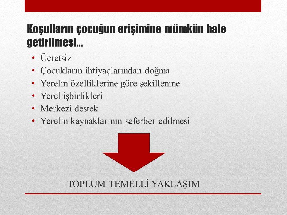 Türkiye'de Mevcut Durum Türkiye'de toplum temelli yaklaşımlar: nispeten yeni bir olgu Birçok girişim geçici, küçük ölçekli, gönüllülerin hizmetlerine bağımlı, yeterince fon bulamayan ve fiziksel kapasite anlamında yetersiz Hem ebeveynler hem de çocukların ilgisinin ve katılımı olumlu sonuçlar üretiyor ve çocukların gelişimine olumlu katkılar sunuyor Milli Eğitim Bakanlığı'nın, pek çok toplum merkezi aracılığı ile okul öncesi eğitim alanında kurum dışı yaklaşım deneyimine sahip olması ve belediyelerin ve STK'ların da toplum temelli modellere çok benzeyen hizmetler sağlama konusunda deneyimlerinin olması olumlu nokta Fiziksel kapasite yetersizliği genel bir sıkıntı Standart bir eğitim programı mevcut değil Bazı modellerde haftalık görüşmeler ya da ihtiyaç değerlendirme yaklaşımları aracılığı ile, eğitim içeriğinin belirlenmesi sürecine aileler aktif olarak katılıyor, programların toplumun ihtiyaçlarına göre şekillendiriliyor Eğitim hizmetleri çoğunlukla meslek lisesi mezunları tarafından veriliyor Hizmet içi eğitim önemli bir ihtiyaç