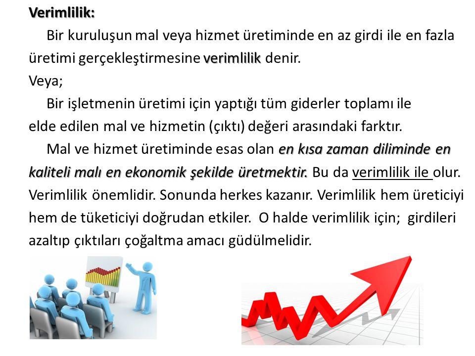 Verimlilik: Bir kuruluşun mal veya hizmet üretiminde en az girdi ile en fazla verimlilik üretimi gerçekleştirmesine verimlilik denir. Veya; Bir işletm