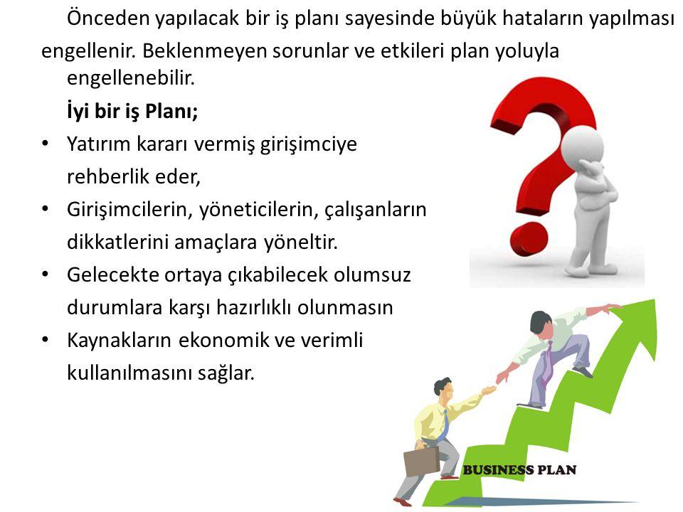 Önceden yapılacak bir iş planı sayesinde büyük hataların yapılması engellenir. Beklenmeyen sorunlar ve etkileri plan yoluyla engellenebilir. İyi bir i