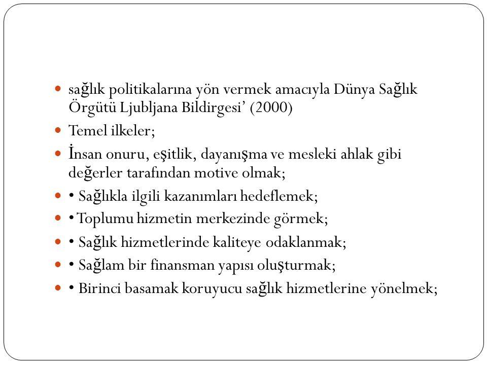 sa ğ lık politikalarına yön vermek amacıyla Dünya Sa ğ lık Örgütü Ljubljana Bildirgesi' (2000) Temel ilkeler; İ nsan onuru, e ş itlik, dayanı ş ma ve