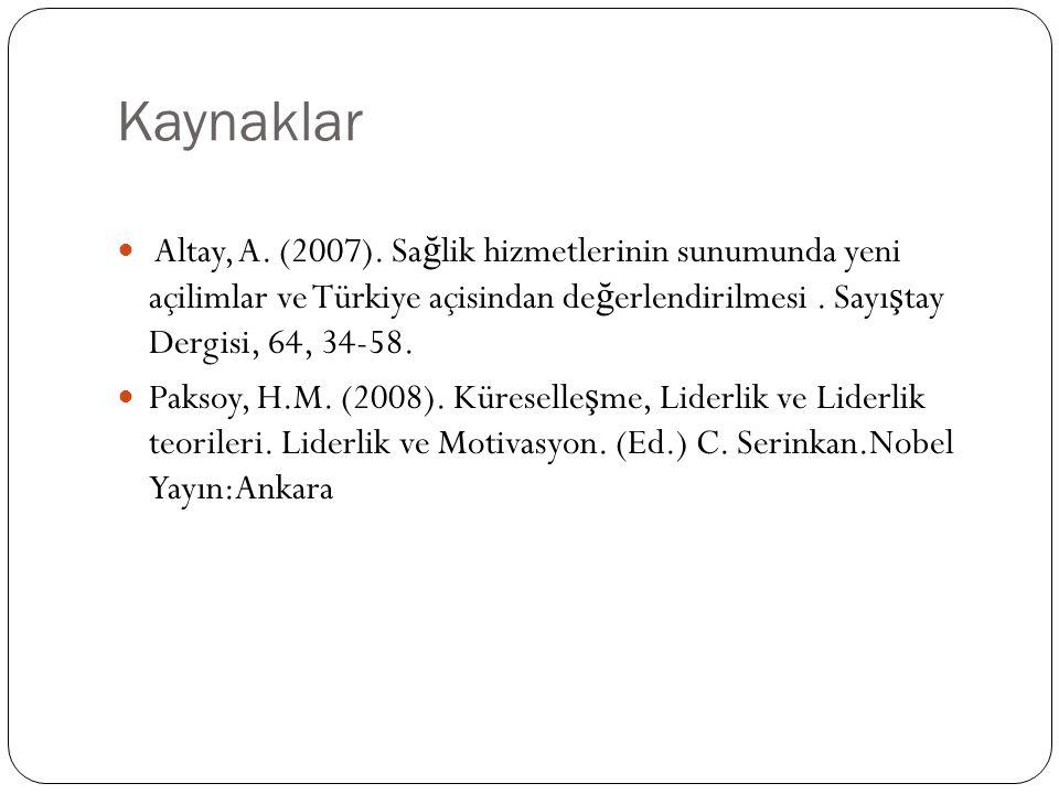 Kaynaklar Altay, A. (2007). Sa ğ lik hizmetlerinin sunumunda yeni açilimlar ve Türkiye açisindan de ğ erlendirilmesi. Sayı ş tay Dergisi, 64, 34-58. P