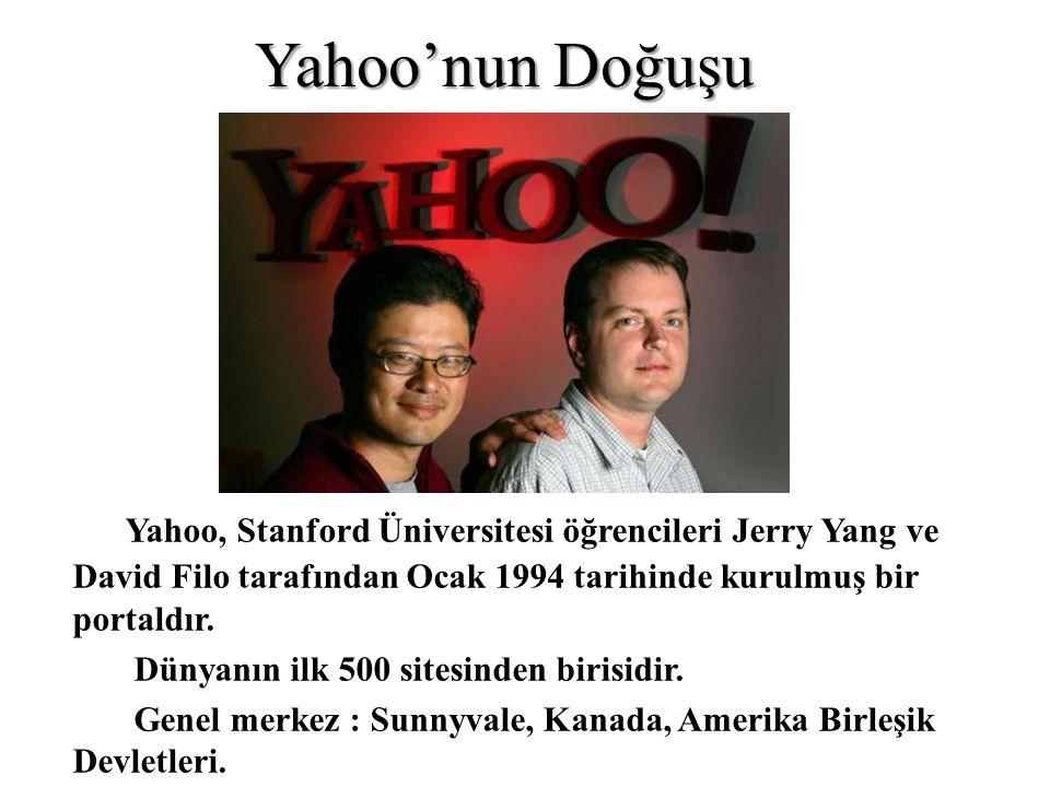 Yahoo'nun Doğuşu Yahoo, Stanford Üniversitesi öğrencileri Jerry Yang ve David Filo tarafından Ocak 1994 tarihinde kurulmuş bir portaldır. Dünyanın ilk
