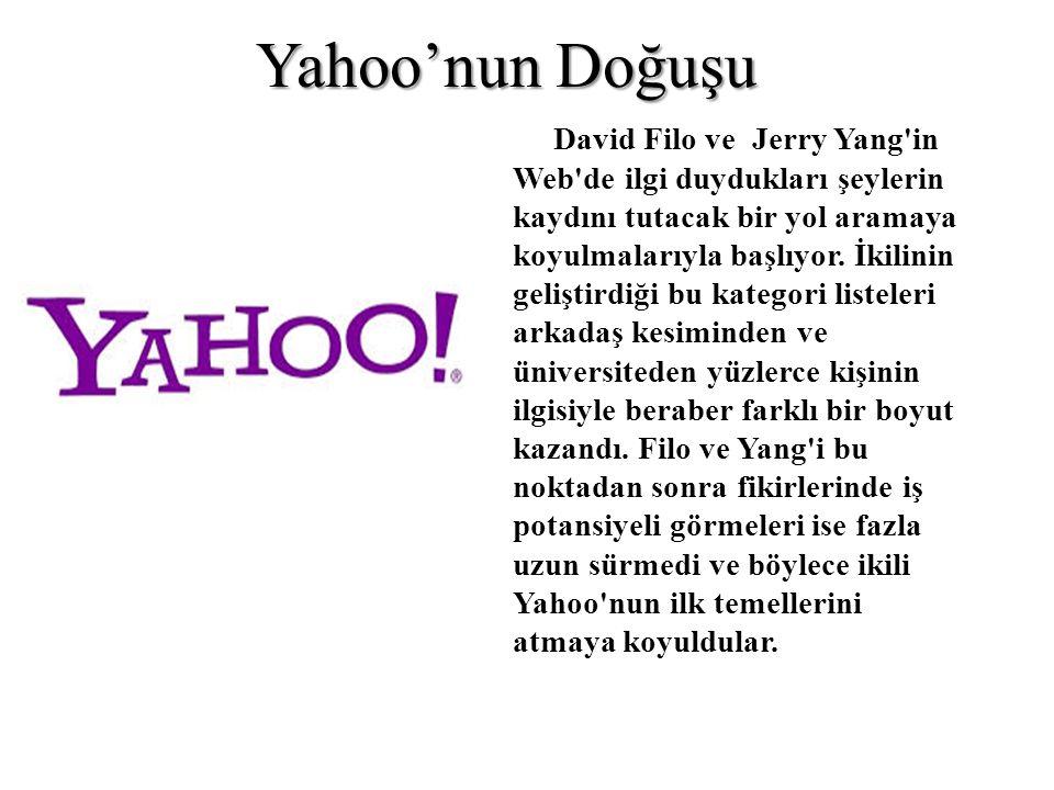 David Filo ve Jerry Yang in Web de ilgi duydukları şeylerin kaydını tutacak bir yol aramaya koyulmalarıyla başlıyor.