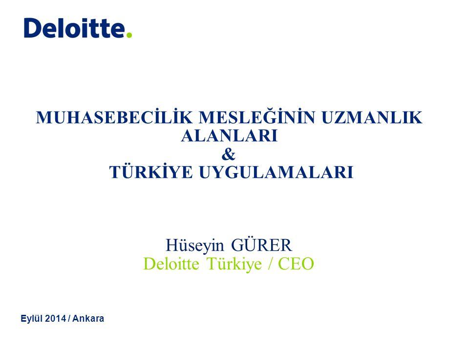 © 2013 Deloitte Touche Tohmatsu Muhasebecilik Mesleğinde Uzmanlık Alanları-I Bağımsız Denetim Vergi Hizmetleri Muhasebe Danışmanlığı Finansal Raporlama Uzmanlığı İç Kontrol ve İç Denetim Bütçe, Planlama ve Finans Yönetimi 1