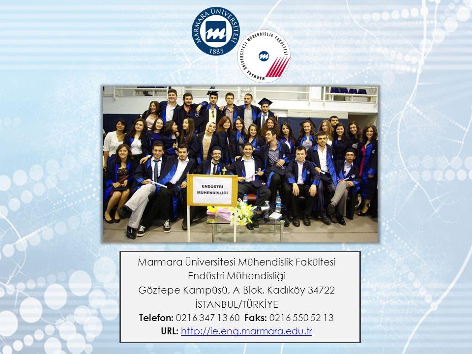 Marmara Üniversitesi Mühendislik Fakültesi Endüstri Mühendisliği Göztepe Kampüsü, A Blok, Kadıköy 34722 İSTANBUL/TÜRKİYE Telefon: 0216 347 13 60 Faks:
