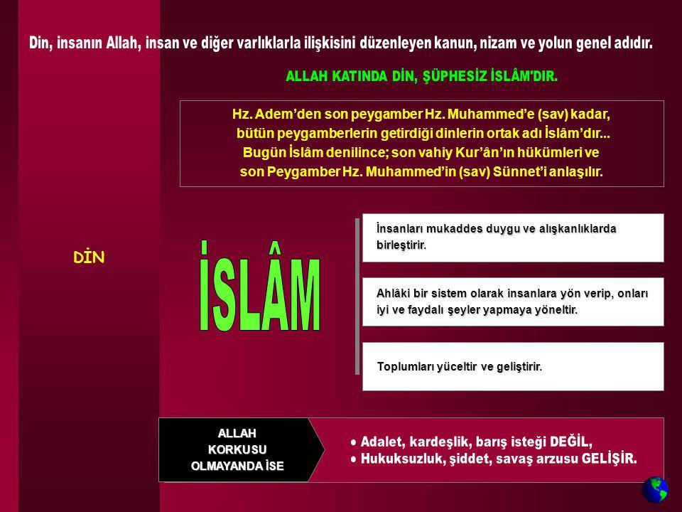 DİN Hz. Adem'den son peygamber Hz. Muhammed'e (sav) kadar, bütün peygamberlerin getirdiği dinlerin ortak adı İslâm'dır... Bugün İslâm denilince; son v