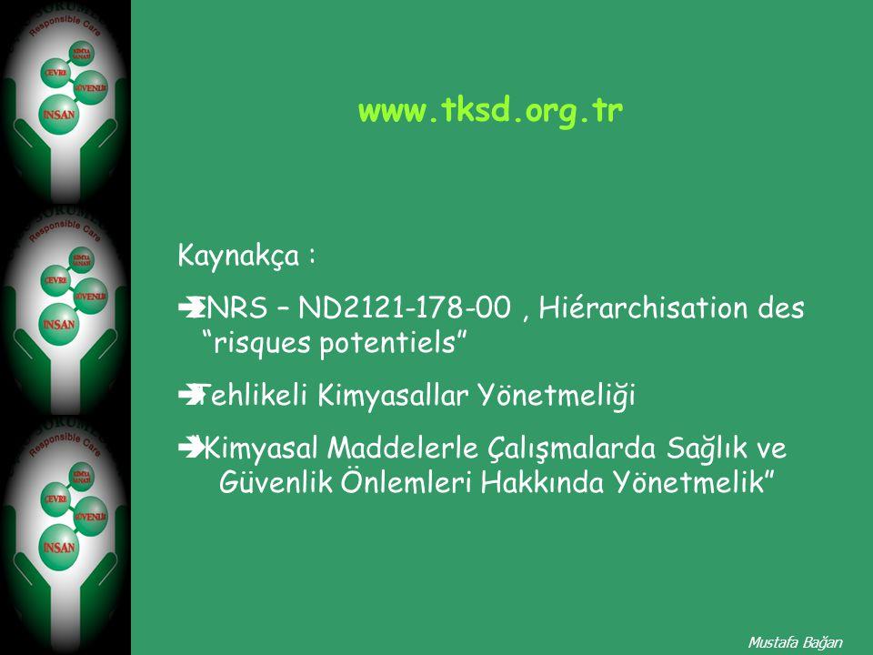 "Kaynakça :  INRS – ND2121-178-00, Hiérarchisation des ""risques potentiels""  Tehlikeli Kimyasallar Yönetmeliği  ""Kimyasal Maddelerle Çalışmalarda Sa"