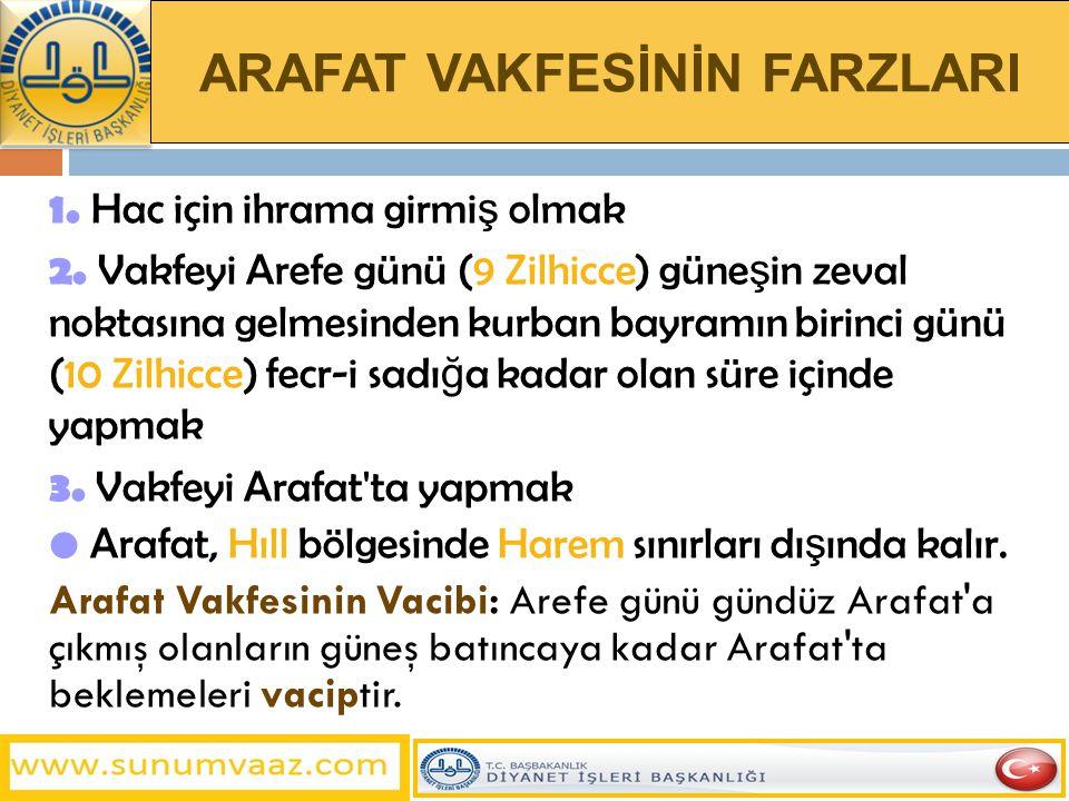 ARAFAT VAKFESİNİN FARZLARI 1.Hac için ihrama girmi ş olmak 2.