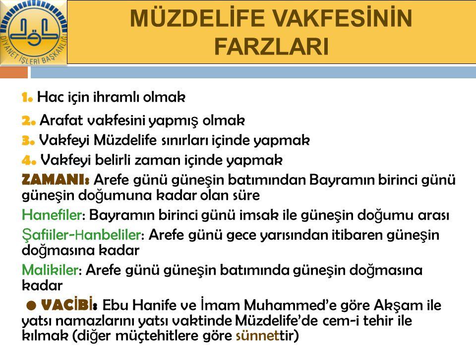 MÜZDELİFE VAKFESİNİN FARZLARI 1.Hac için ihramlı olmak 2.