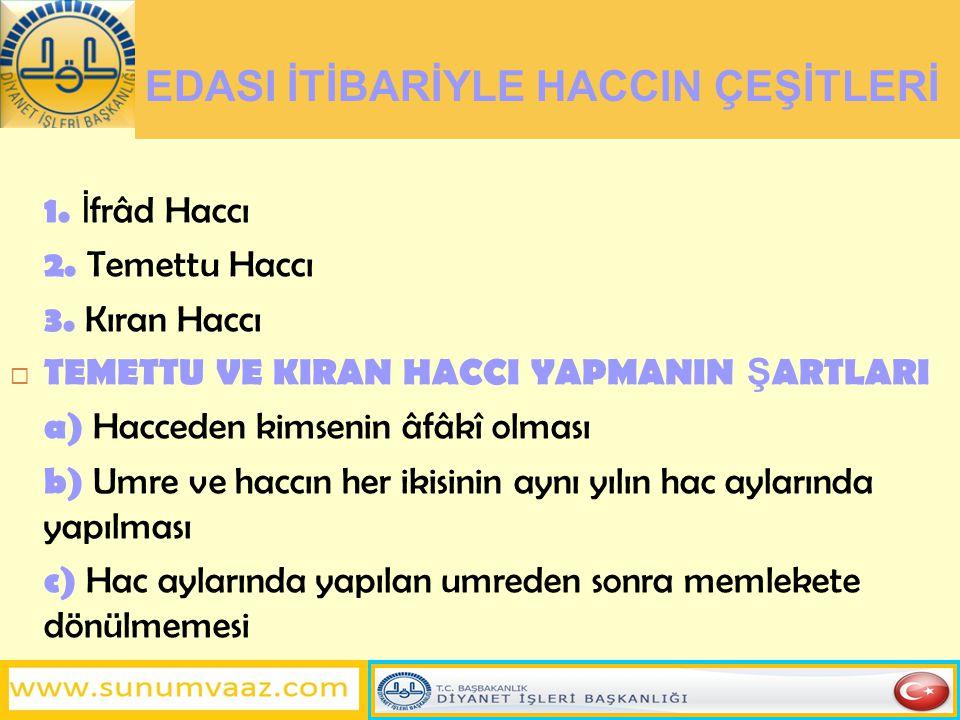 HACCIN GEÇERL İ OLMASININ Ş ARTLARI 1.İ hrama girmek 2.
